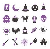 Vector web icon set for creating graphics related to Halloween, including witch, bat, spider web, ghost, candy, eyeball, skull and stock illustration