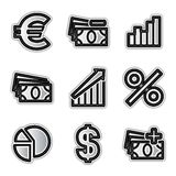 Vector web icons economy. Vector web icons silver contour economy Royalty Free Stock Photos