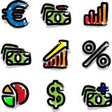 Vector web icons marker colour contour economy. Vector web icons marker colour contour hand draw economy Stock Photo