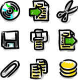 Vector web icons marker colour contour files. Hand draw Stock Image
