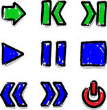 Vector web icons marker colour contour play. Hand draw Royalty Free Stock Photo