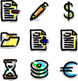 Vector web icons marker colour contour various. Hand draw Stock Photography