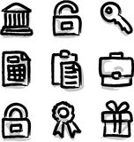 Vector web icons marker contour financial. Look like marker contour hand drawing icons Royalty Free Stock Image
