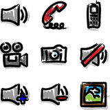 Vector web icons marker contour media. Hand draw royalty free illustration