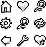 Vector web icons marker contour tools. Hand draw royalty free illustration