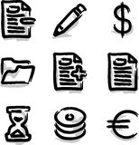 Vector web icons marker contour various. Hand draw Royalty Free Stock Photography