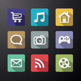 Vector Web Icons Set in Flat Design. With Long Shadows royalty free illustration