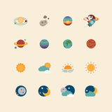Vector web icons set - space sun and moon collection Royalty Free Stock Photos