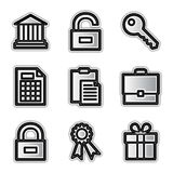 Vector web icons, silver conto. Vector web icons silver contour financial Stock Photography
