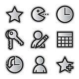 Vector web icons, silver contour favorites Stock Photography
