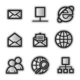 Vector web icons, silver contour internet. Vector web icons silver contour internet Royalty Free Stock Photos