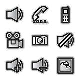 Vector web icons, silver contour media. Vector web icons silver contour media Stock Photo