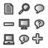 Vector web icons, silver contour misc. Vector web icons silver contour misc Royalty Free Stock Photos