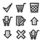 Vector web icons, silver contour shop. Vector web icons silver contour shop Royalty Free Stock Photos