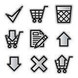 Vector web icons, silver contour shop Royalty Free Stock Photos