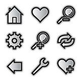 Vector web icons, silver contour tools Royalty Free Stock Image