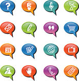 Vector web icons in talk bubbles. For your website stock illustration