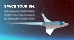 Vector web illustration Space tourism. Spaceship. Royalty Free Stock Photography