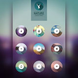 Vector web and mobile interface template icons, blurred circles Royalty Free Stock Image