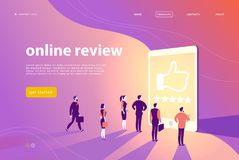 Vector web page concept design with online review theme - office people stand at big digital tablet watch shining screen with five. Stars. Landing page, mobile royalty free illustration