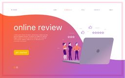 Vector web page concept design with online review theme. Office people stand watching on mobile device screen - laptop, tablet. Thumb up, stars line icons stock illustration