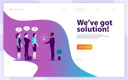 Vector web page design template - complex business solution, project support, online consult, modern technology, service, time man. Agement, planning. Landing stock illustration