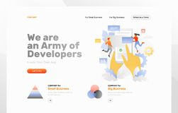 App Development Web Page. Vector web page template of app development. Big hands with cellphone surrounded by tiny developers royalty free illustration