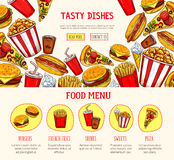 Vector web page template for fast food restaurant. Fast food restaurant landing or web page template. Vector menu design of fastfood burgers, hot dog sandwiches Royalty Free Stock Photos