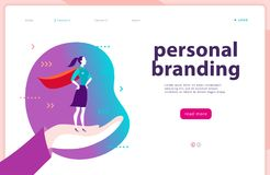 Vector web page template - personal branding, business communication, consulting, planning. Landing page design. Business lady standing as super hero on human royalty free illustration