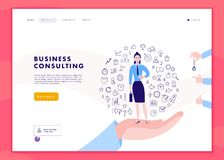 Vector web page template for time management project, business communication, consulting, planning. Landing page design. Business lady stand on human hand. Web Royalty Free Stock Photo