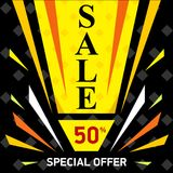 Vector web sale banner. Sale discount up to 50. Special offer. Abstract advertising promotion layout in black and yellow colors. Bright banner on black royalty free illustration