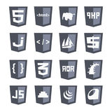 Vector web shields icon set grey variant: html5, css3 Royalty Free Stock Photos