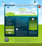 Vector Web site with daisies for business. Vector Web site with daisies and blue skies for business
