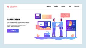 Vector web site design template. Business partnership. Businessmen cut a deal with finance charts on background. Landing stock illustration