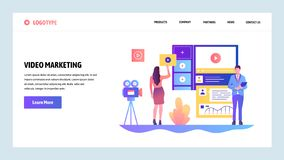 Vector web site design template. Video marketing and advertisement. Landing page concepts for website and mobile. Development. Modern flat illustration vector illustration
