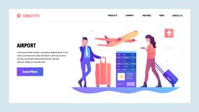 Vector web site gradient design template. Airport terminal and passengers waiting for flight. Landing page concepts for. Website and mobile development. Modern stock illustration