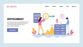 Vector web site gradient design template. Blockchain technology and cryptocurrency. Online digital money, bitcoin. Ethereum. Landing page concepts for website royalty free illustration