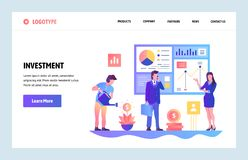 Vector web site gradient design template. Business investment and roi financial report. Landing page concepts for. Website and mobile development. Modern flat vector illustration