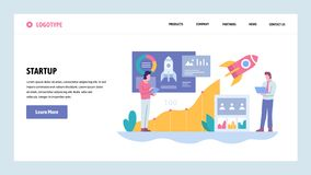 Vector web site gradient design template. Business technology sratrup. Rocket launch. Landing page concepts for website. And mobile development. Modern flat royalty free illustration