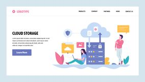 Vector web site gradient design template. Cloud storage server technology. Secure data upload and download. Landing page. Concepts for website and mobile vector illustration