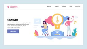 Vector web site gradient design template. Creative process and new ideas. Creativity concept. Landing page concepts for. Website and mobile development. Modern vector illustration