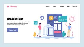 Vector web site gradient design template. Online digital bank and internet payments. Secure money transfer from mobile vector illustration