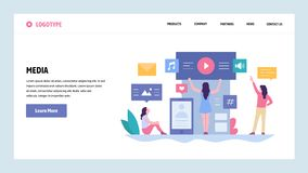 Free Vector Web Site Gradient Design Template. Online Digital Media Content. Music, Video And Photo Content. Landing Page Stock Images - 139351554
