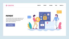 Vector web site gradient design template. Online money payment. Digital banking and secure payment. Landing page. Concepts for website and mobile development stock illustration