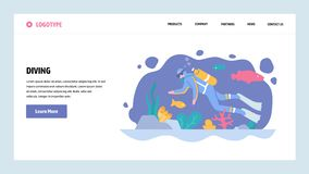 Vector web site gradient design template. Scuba diving. Diver underwater watch sea life. Landing page concepts for. Website and mobile development. Modern flat vector illustration