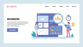 Vector web site gradient design template. SEO analytics and optimization. Online marketing and keyword suggestions. Landing page concepts for website and royalty free illustration
