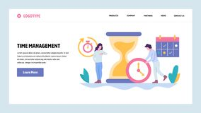 Vector web site gradient design template. Time management concept. Business project deadline. Landing page concepts for. Website and mobile development. Modern stock illustration
