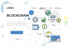 Vector web site linear art design template. Blockchain technology and bitcoin cryptocurrency. ICO and crypto mining. Landing page concepts for website and stock illustration