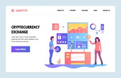 Vector web site linear art design template. Cryptocurrency exchange. Bitcoin to dollars exchange platform. Landing page. Concepts for website and mobile royalty free illustration
