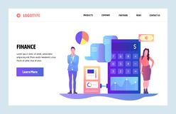 Vector web site linear art design template. Finance and accounting consulting. Money investment business advisers. Landing page concepts for website and mobile royalty free illustration